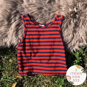 Forever 21 red and navy crop top size medium